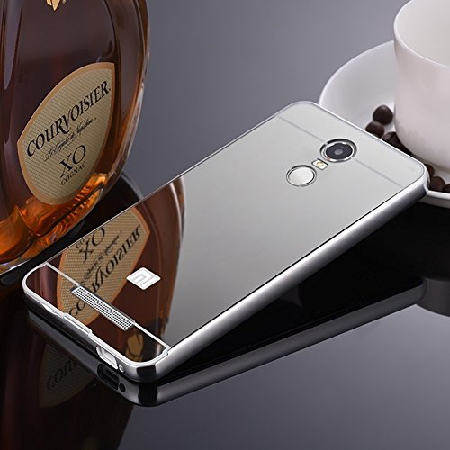 StyleMyBot Luxury Metal Bumper + Acrylic Mirror Back Cover Case For Xiaomi Redmi Note 3 - SILVER