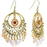 Peaches and Cream Filigree Chandelier Earrings