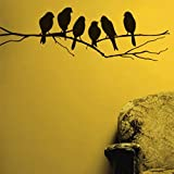 StickersKart Wall Stickers Sparrows Branch (Black, 84cm x 26cm)-6201