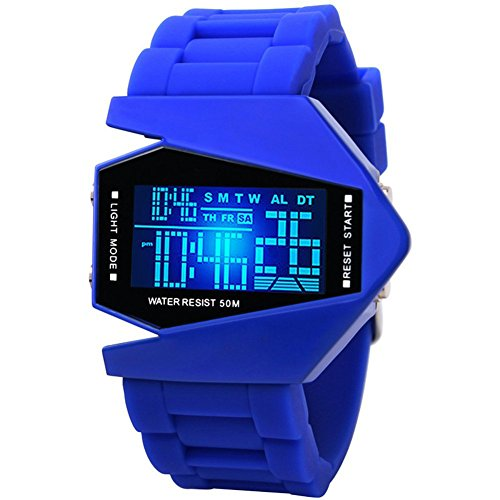 Stealth Fighter LED Display Waterproof Watch