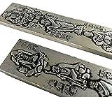 アンティーク 風水 雑貨   足銀 刻印 在銘 レリーフプレート  硯習字筆 文鎮 (十八羅漢)