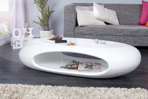 Organic II Design Couchtisch Hochglanz Lack weiss 135 cm