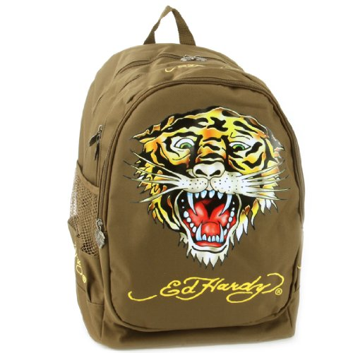 Ed Hardy Bruce Tiger Backpack - Brown
