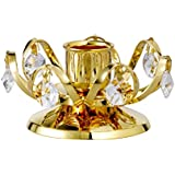 CANDLE HOLDER SMALL 24k GOLD PLATED GIFT STUDDED WITH SWAROVSKI CRYSTALS FOR VALENTINE DAY