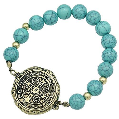 Q&Q Fashion® Retro Gold Plated Catholic Saint St. Benedict Medal Nursia Cross Turquoise Bead Bracelet Bangle