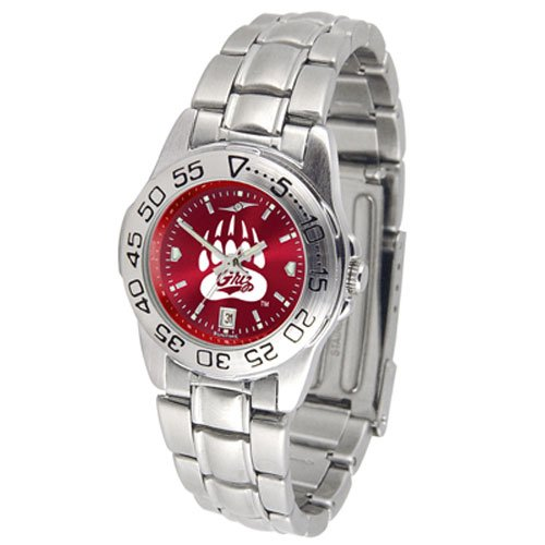 Suntime Montana Grizzlies Ncaa Anochrome Sport Ladies Watch Metal Band
