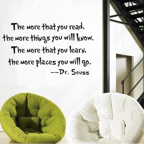 Dr Seuss Quote Vinyl Wall Decal-White-The More You Read Book Saying Quote Decal Nursery Decor-Dr Seuss Quote Vinyl Wall Decal-White-The More You Read Book Saying Quote Decal Nursery Decor front-1030239