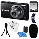 Canon PowerShot A2300 16.0 MP Digital Camera with 5x Digital Image Stabilized Zoom (Black) + 8GB Accessory Kit