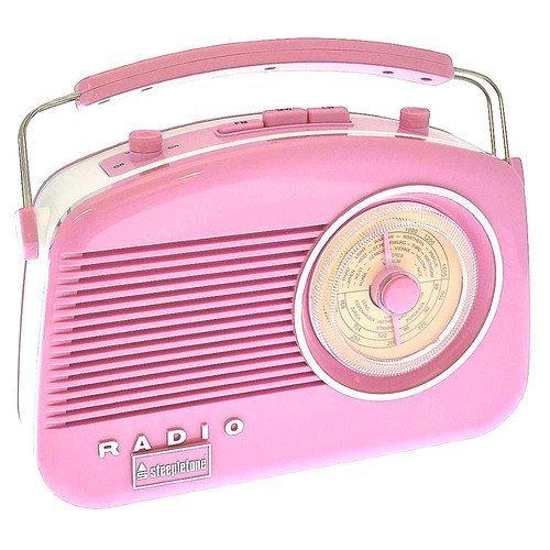 Steepletone Brighton Radio Vintage Style Shabby Chic Retro Radio FM/MW/LW Pink