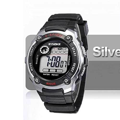 Kano Bak Child Kids Boy Girl Student Digital Quartz Alarm Sports Waterproof Christmas Gift Watch Silver