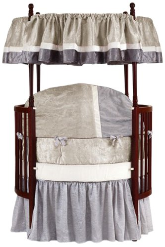 Baby Doll Round Crib Bedding Set, Beige, 8 Piece