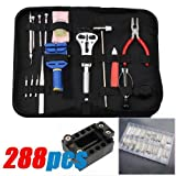 288 Pcs Watchmaker Watch Repair Tool Kit Back Case Opener Remover Spring Pin Bar
