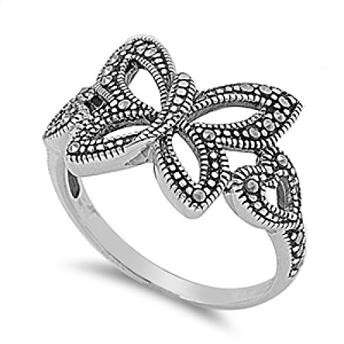 Sterling Silver Marcasite Ring - Butterfly