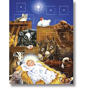 Baby Jesus in Manager with Animals Nativity Folk Art Religious Advent Calendar with Christmas Prayer Pamphlet