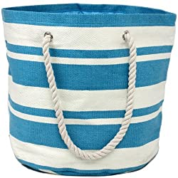 Beach Bags Tote Stripe Print Grocery Shopping Gym- Made of Natural Woven Material