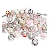 10 of Mix Pink murano glass beads For Snake Chain Charm Bracelet