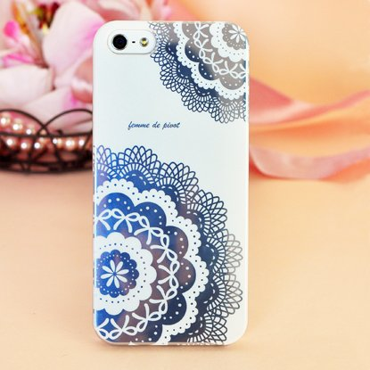 Special Sale Femme Hard Case Cover for iPhone 5 - Femme Romantic Collection (White Floral Lace)