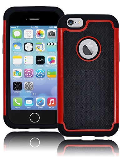 "Bastex Hybrid Deluxe Red And Black Rugged Shock Armor Case For Apple Iphone 6, 4.7"" 6Th Generation front-327168"