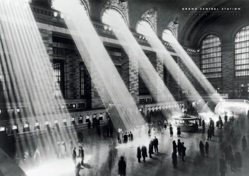Grand Central Station-Vintage Black and White, Photography Poster Print, 24 by 36-Inch (Central Train New York Poster compare prices)
