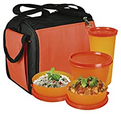Oliveware Plastic Quick Carry Lunch Bag Including Tumbler, 1 Big & 2 Small, Set Of 4 Pieces, Orange