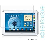 Boriyuan Tab 2 10.1 Screen Protector, [Tempered Glass Protection] Ultra Slim Crystal Clear Premium Tempered Glass Screen Protector for Samsung Galaxy Tab 2 10.1 P5100 P5110 P5113- Comes with a Micro Fiber Cleaning Cloth + an Alcohol Wipe Cloth + an Electrostatic Anti-dust Film