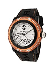 Glam Rock Women's GR60002 Miami Beach Collection Diamond Accented Black Silicone Watch
