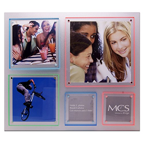MCS Magnet Photo Frame 5-Opening Collage Tabletop Metal Picture Frame: Holds 5 Photos with Clear Magnetic Acrylic Pads