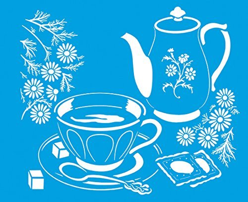 """8.3"""" x 6.8"""" (21cm x 17cm) Reusable Flexible Plastic Stencil for Graphical Design Airbrush Decorating Wall Furniture Fabric Decorations Drawing Drafting Template - Vintage Coffee Tea Pot Cup Breakfast"""