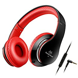 Ailihen Universal Headphones with Microphone and Detachable Cable - Black / Red