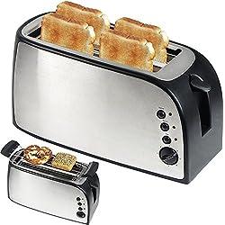 Tostapane per 4 fette, 1500 Watt con cassetto per mollice, fessura lunga per sandwich / supporto per panini amovibile / doppio isolamento del corpo, regolazione continua della temperatura