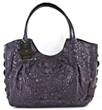 100% HORNBACK SKIN GENUINE CROCODILE LEATHER HANDBAG BAG TOTE HOBO LARGE SOFT&SHINY DARK PURPLE NEW EMS SHIPPING @ Genuineshop