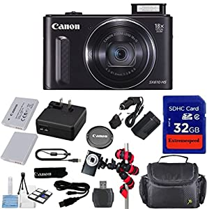 Canon Powershot SX610 HS 20.2MP Camera (Black) with 32GB Accessory Bundle + Extra Replacement Battery + Original Accessories + Spider Flexible Tripod + Deluxe Carrying Case + 12pc Bundle