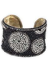 World Finds Fair Trade Zipper Beaded Cuff Bracelet (Silver)