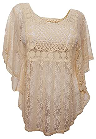 eVogues Plus Size Sheer Crochet Lace Poncho Top Ivory - Small