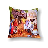 First Row Fine Village Family Digital Print Cushion Cover