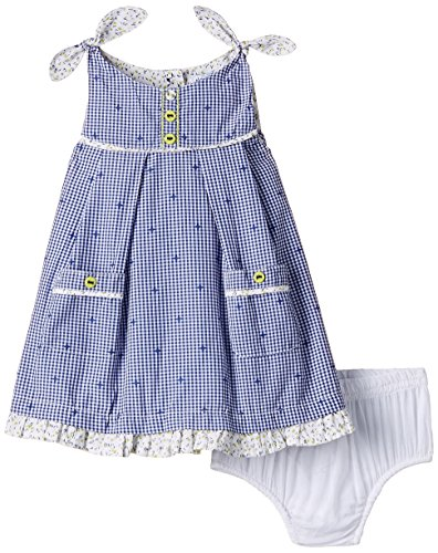 Nauti Nati Baby Girls' Dress (NSS15-9_White Blue_12 - 18 months)