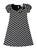 Blink Wear Big Girls' Short Sleeve Chevron Print Shift Dress with Bow