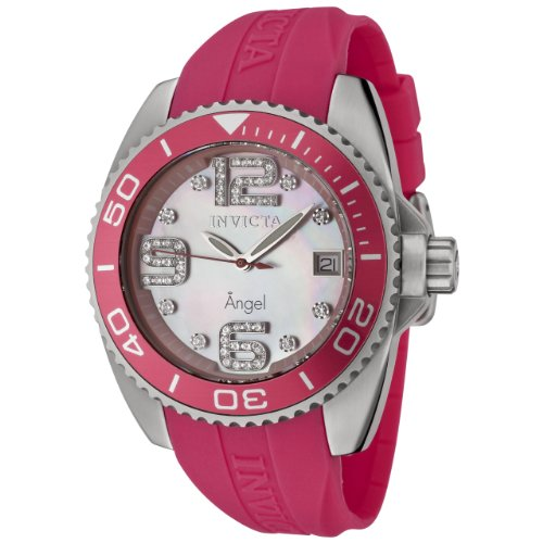 Invicta Women's 0494 Angel Collection Diamond Accented Pink Polyurethane Watch
