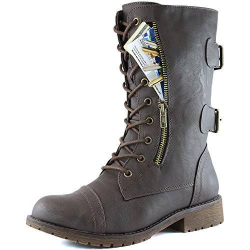 Women's Military Up Buckle Combat Boots Mid Knee High Exclusive Credit Card Pocket, Brown, 9