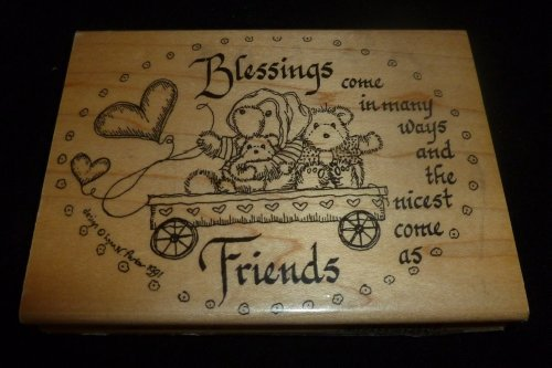 Blessings Friends Teddy Bears Rubber Stamp - 1
