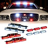36 X LED w/ 18 X LED Emergency Vehicle Strobe Lights for Front Grille Deck Warning Light (36 LED w/ 18 LED, Red and White)