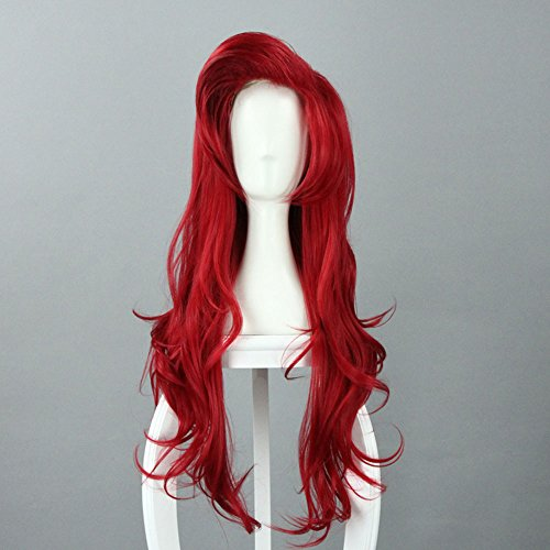 70cm/27.55 Inch Long Dark Red Little Mermaid Ariel Wavy Cosplay Wig