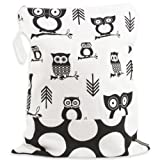 Logan + Lenora Waterproof Wet Bag 'Black and White Owls' Medium