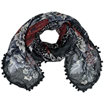 Luxury Divas Grey Multicolor Floral & Animal Square Scarf