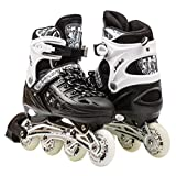 Kids Adjustable Inline Roller Blade Skates Long Feng Black Large Sizes Safe Durable Outdoor Featuring Illuminating Front Wheels 905