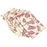 Table Linens Napkins Cotton Red Floral Patterns on Cream White Set of 6