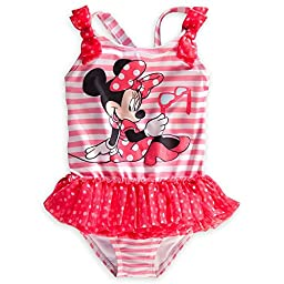 Disney Store Minnie Mouse Swimsuit Size Small 5/6 (5T) Pink Swimwear With Tutu