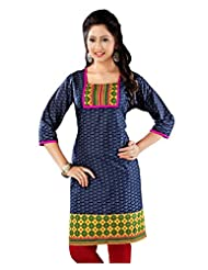Lavis Blue Pure Printed Cotton Kurti