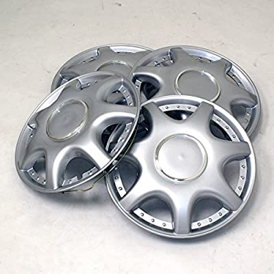 TuningPros WSC2-014S15 Hubcaps Wheel Skin Cover Type 2 15-Inches Silver Set of 4