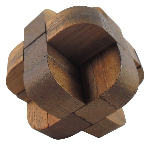 Asian Handmade Wooden Puzzles Game Sphere Cube Brown Tone Color From Thailand
